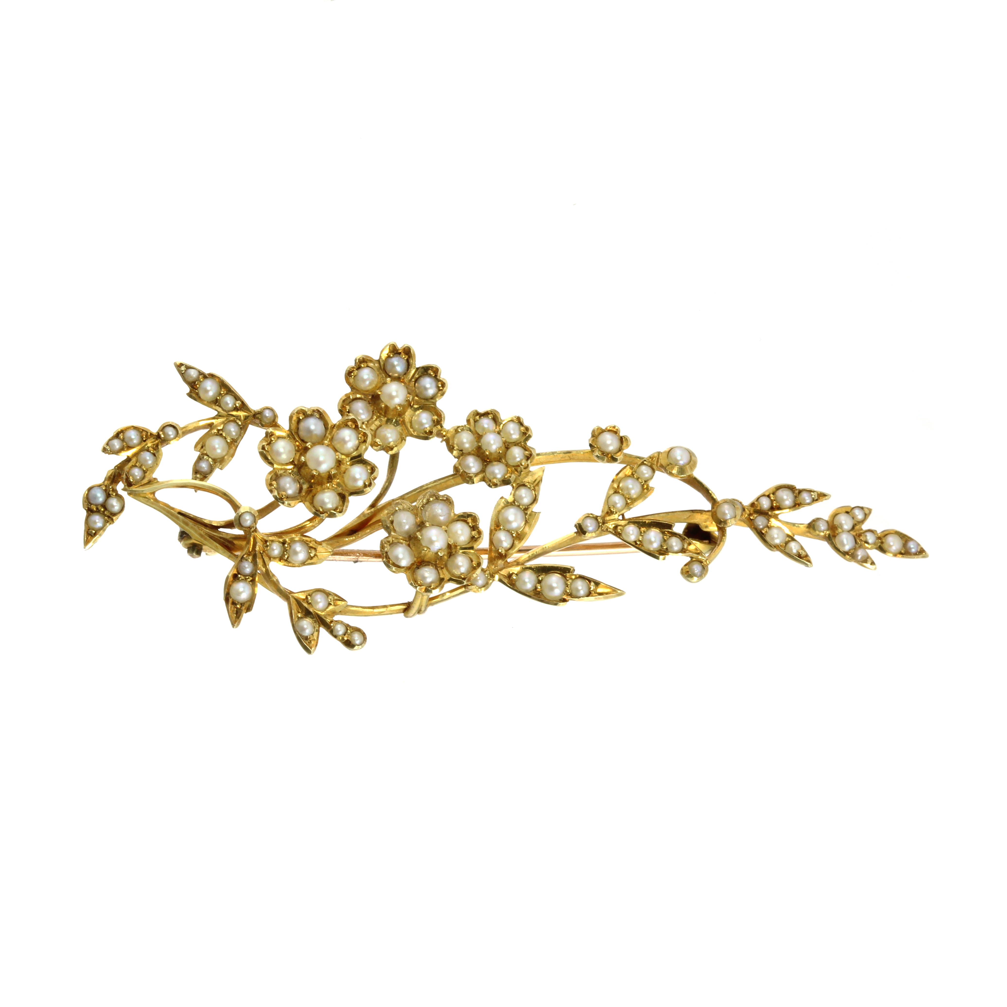 Los 24 - AN ANTIQUE PEARL BROOCH, LATE 19TH CENTURY designed as a floral spray with leaves and flowers,