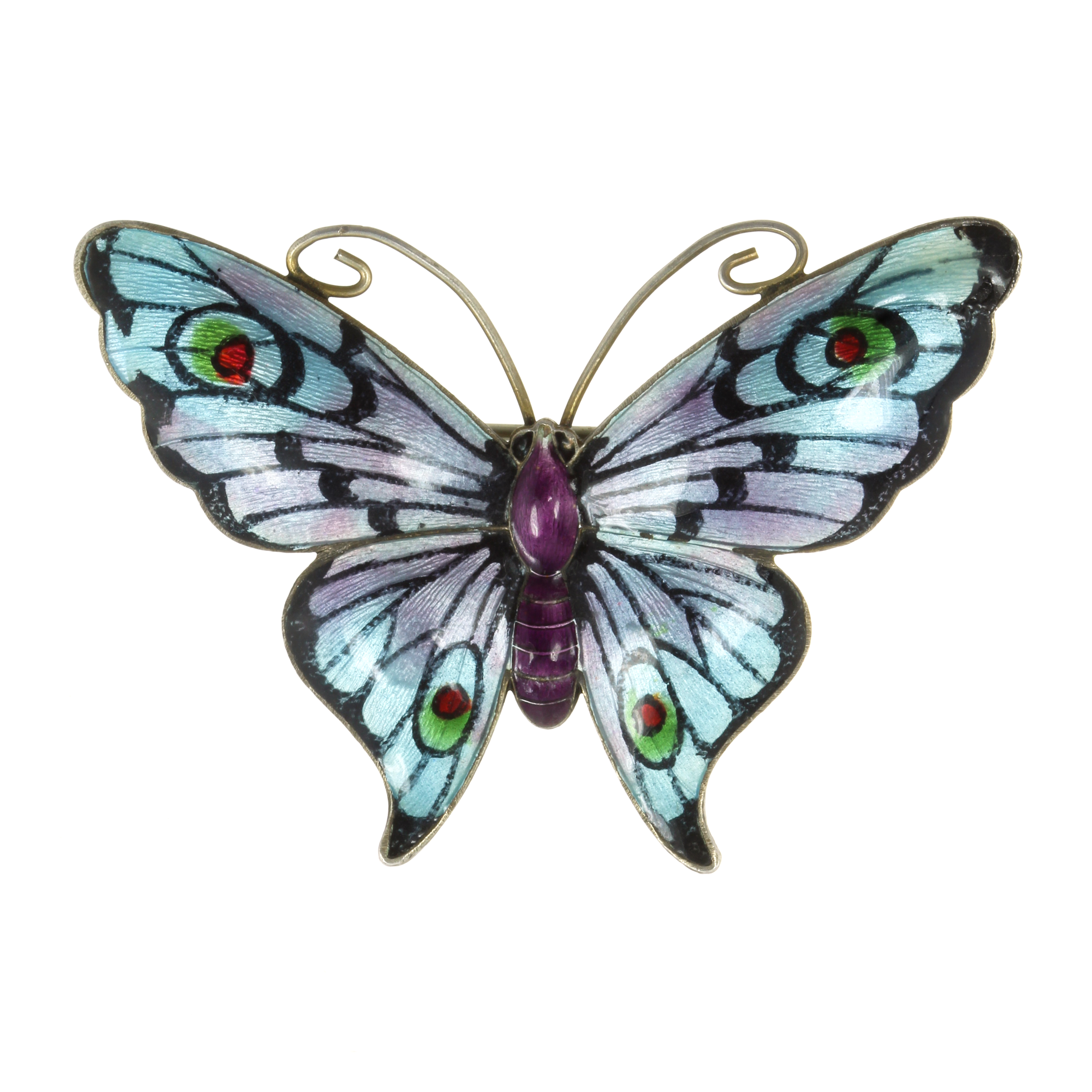 Los 43 - AN ENAMEL BUTTERFLY BROOCH, EARLY 20TH CENTURY designed as a butterfly, its body and wings decorated