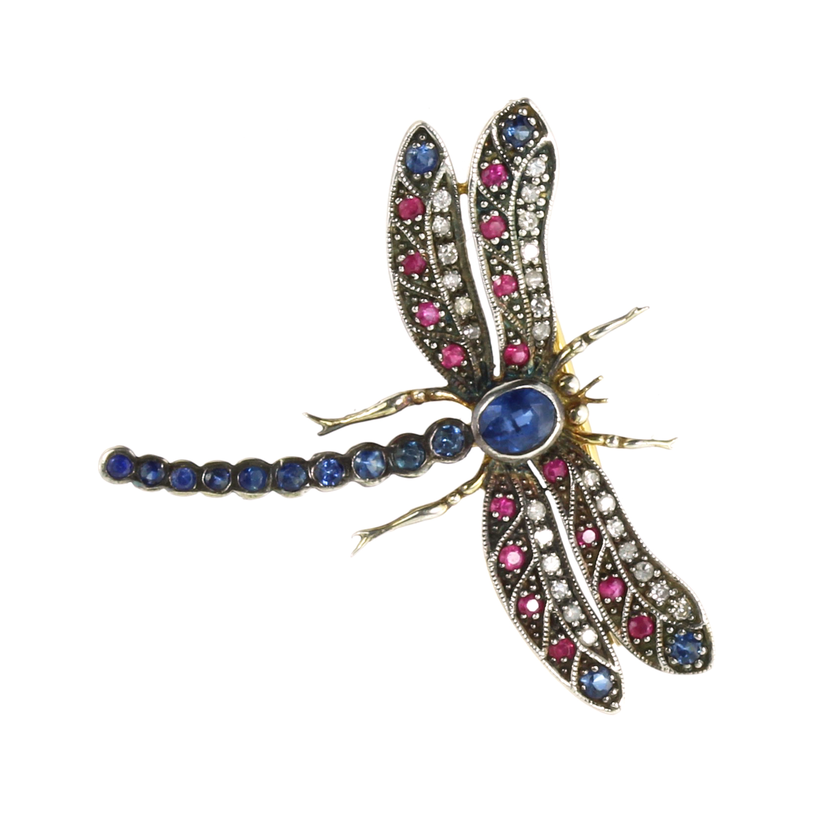Los 45 - A SAPPHIRE, RUBY AND DIAMOND DRAGONFLY BROOCH modeled as a dragonfly with its wings splayed, its
