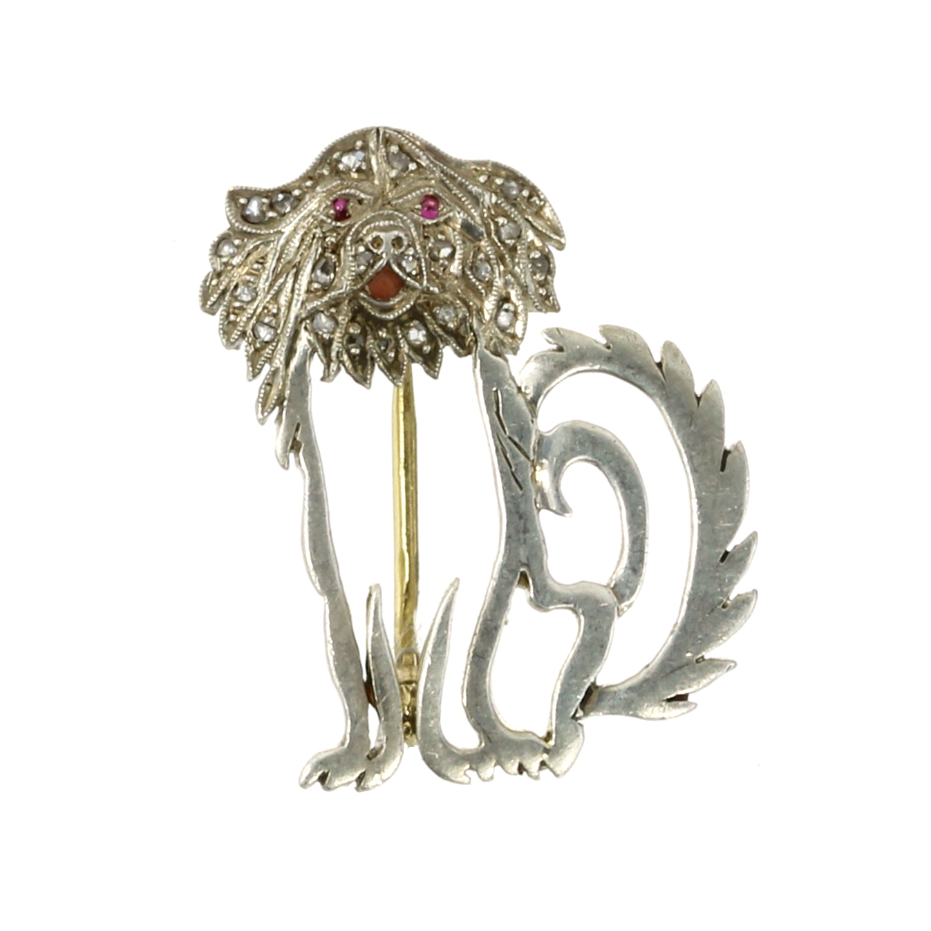 Los 56 - A RUBY AND DIAMOND DOG BROOCH modeled as a seated dog, its body outlined and its face jewelled