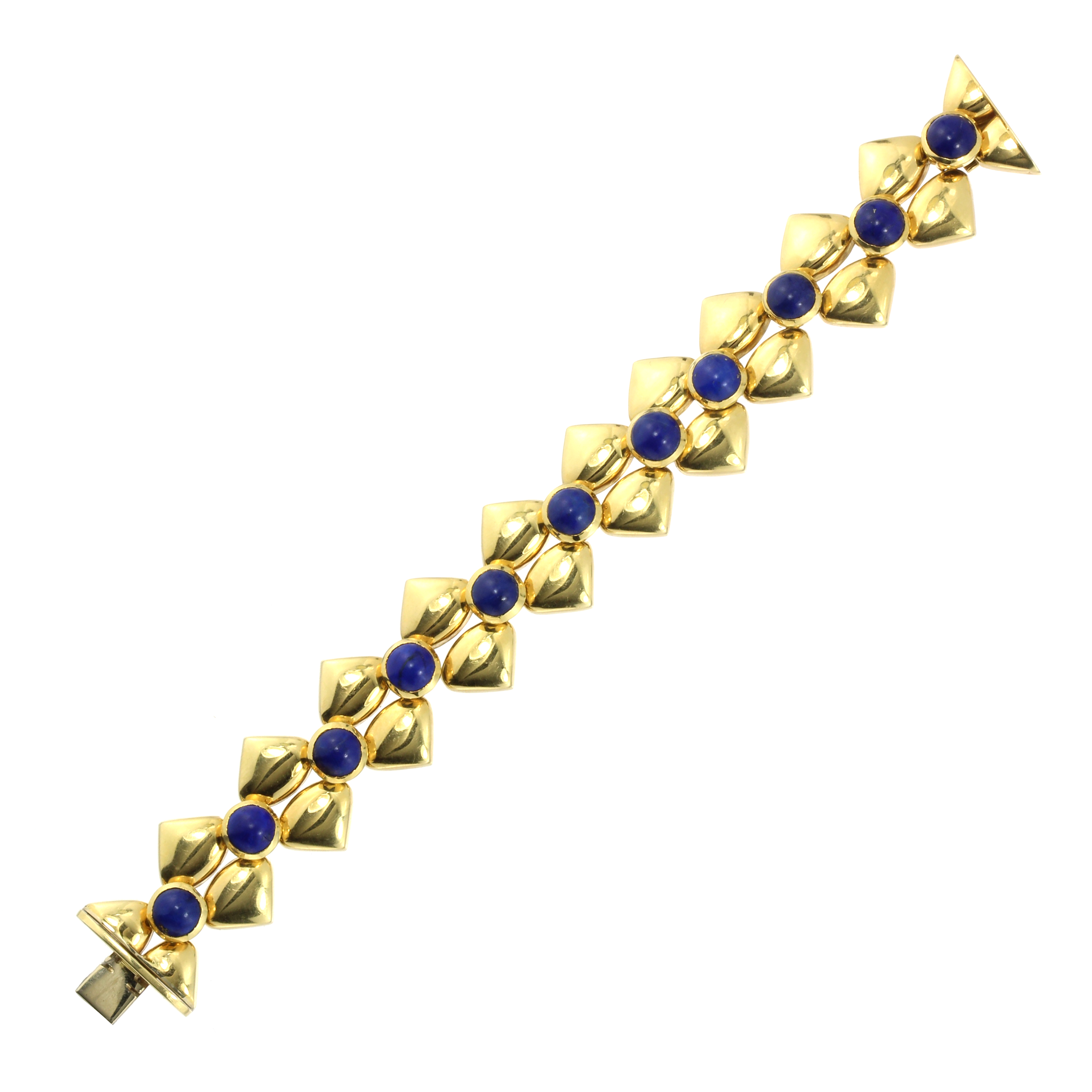 Los 57 - A LAPIS LAZULI BRACELET, CIRCA 1975 set with a single row of eleven circular lapis lazuli