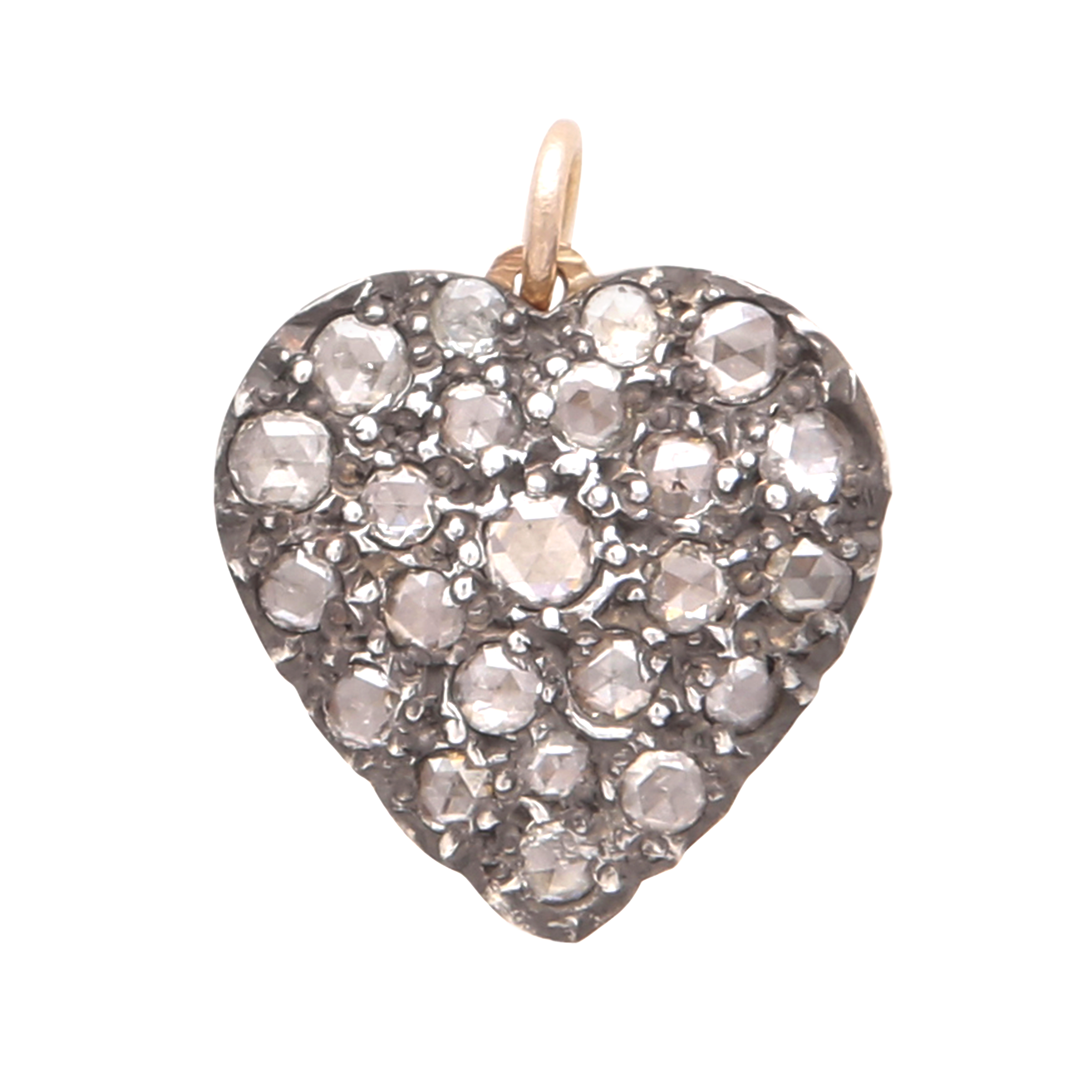 Los 19 - A DIAMOND HEART PENDANT designed as a heart, jewelled to the front with twenty-three rose cut