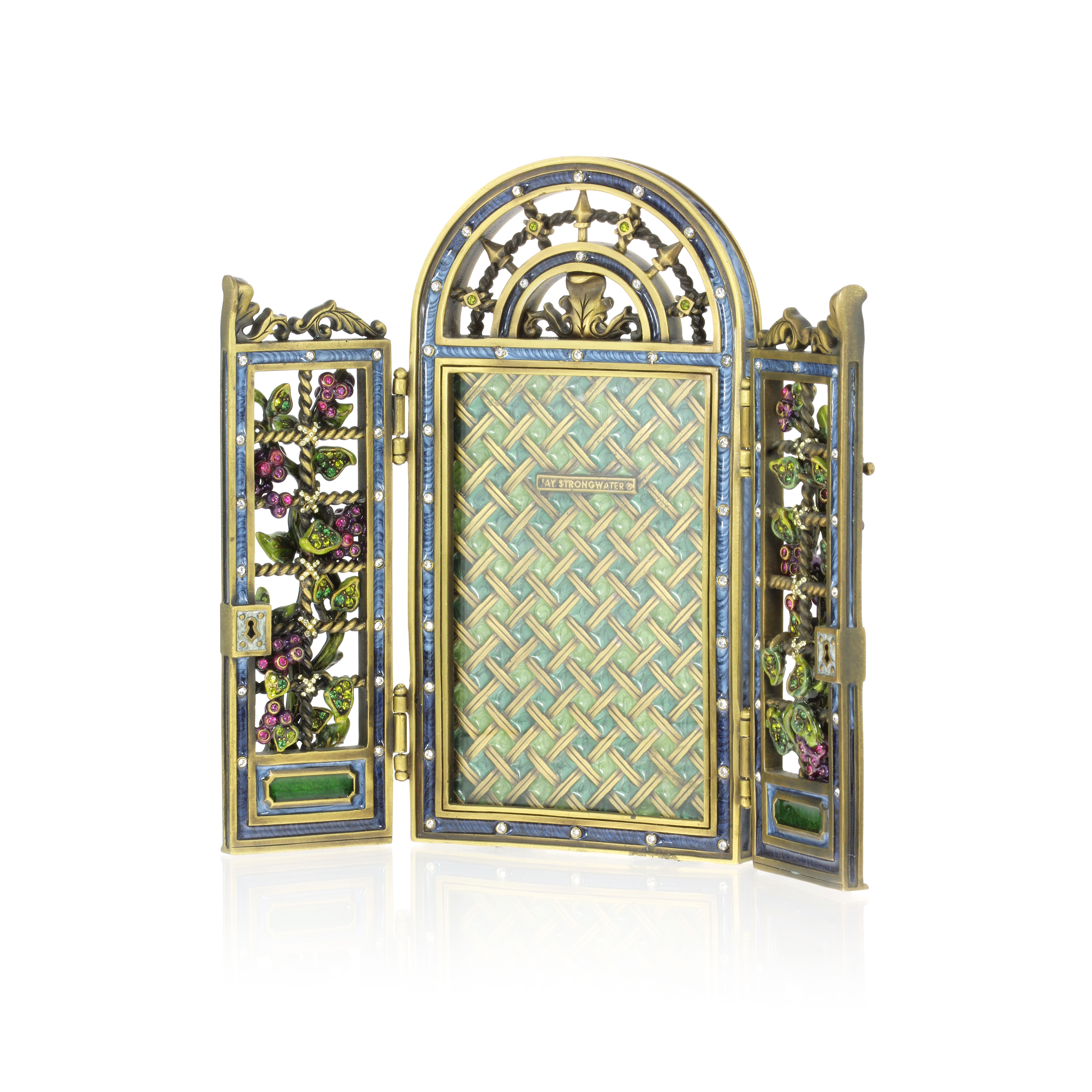 Los 184 - A JEWELLED PHOTOGRAPH FRAME, JAY STRONGWATER designed as an arch with folding double door front