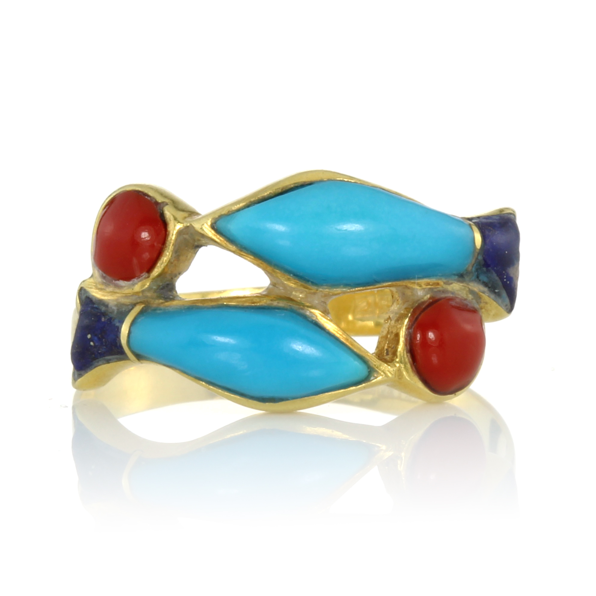 Los 15 - A TURQUOISE, CORAL AND LAPIS LAZULI PISCES RING designed with two fish swimming beside each other in