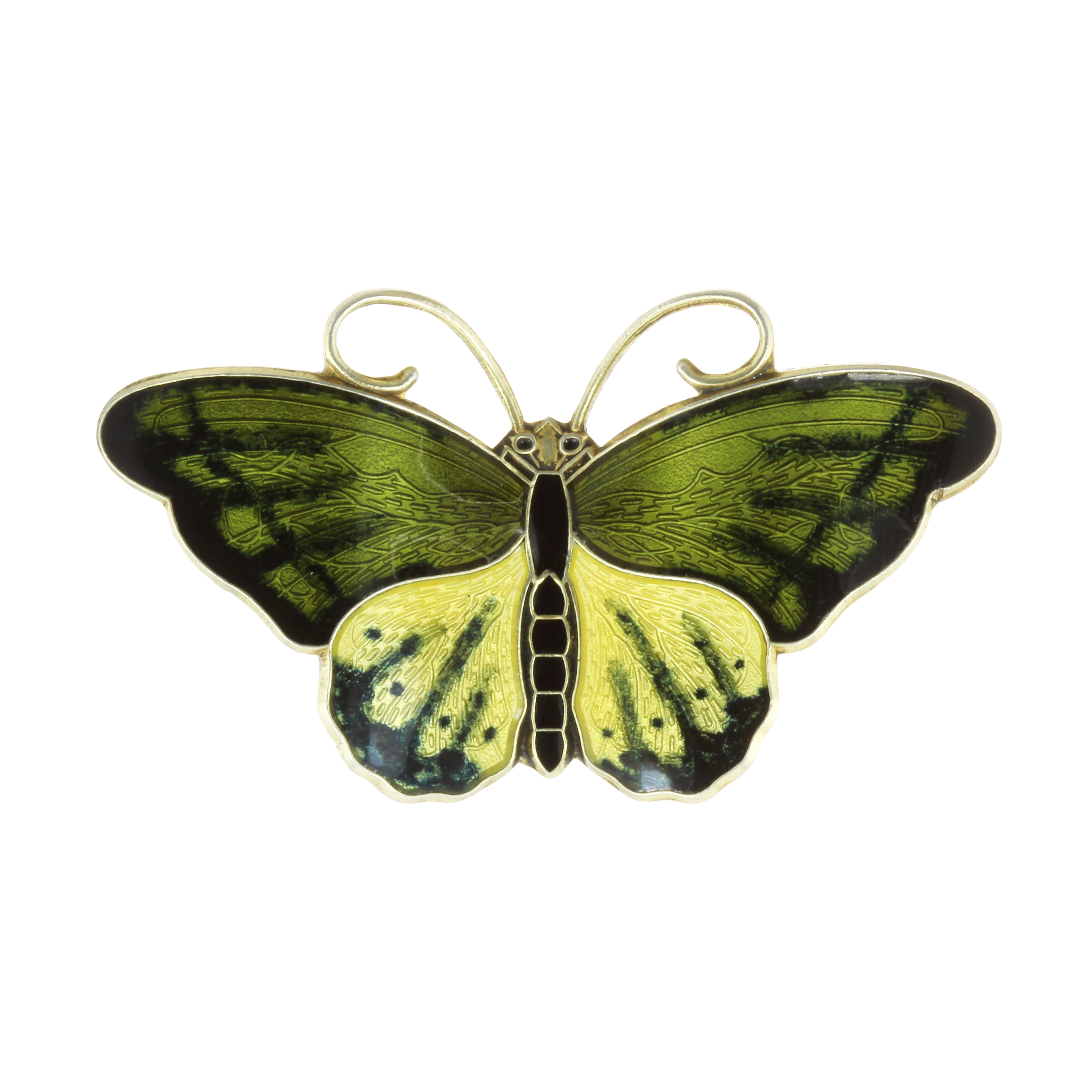 Los 44 - AN ENAMEL BUTTERFLY BROOCH, NORWEGIAN MID 20TH CENTURY designed as a butterfly, its body and wings