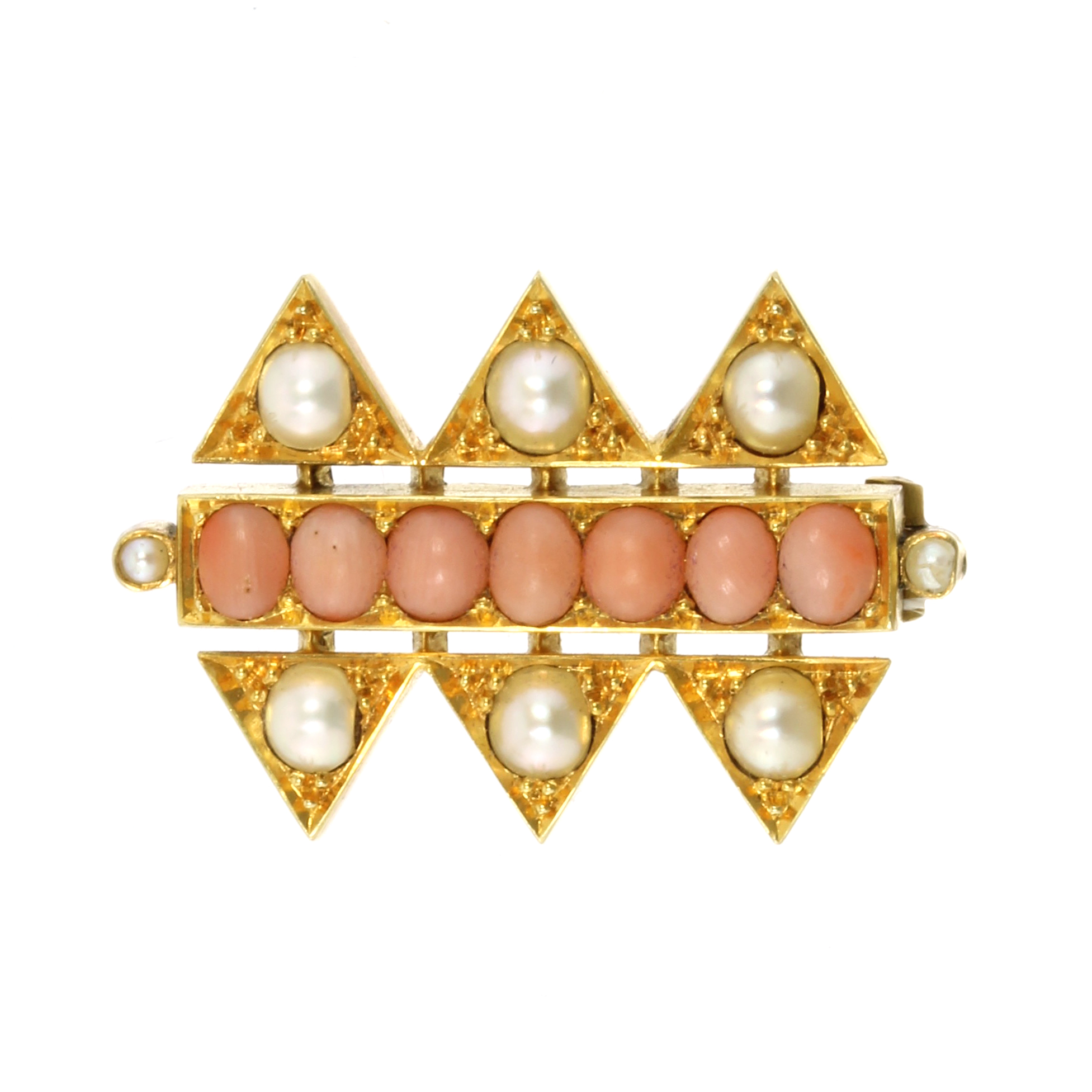 Los 10 - AN ANGEL CORAL AND PEARL BROOCH set with a single row of angel coral cabochons flanked above and