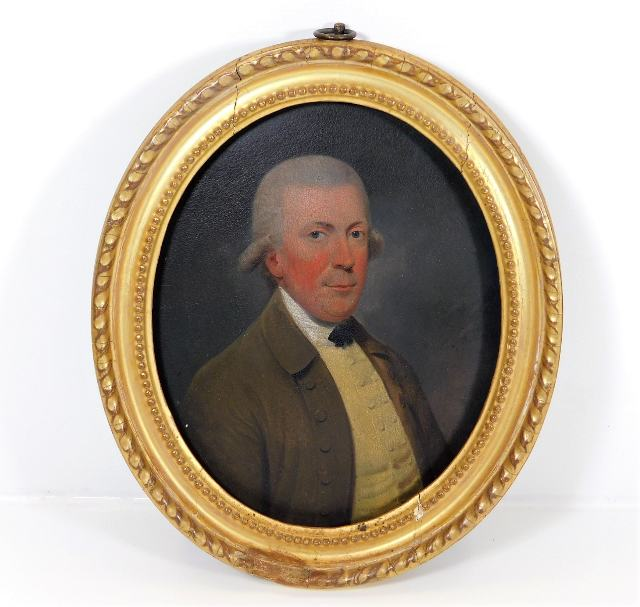 Lot 38 - In the style of George Stubbs, a gilt framed 18thC. oil on panel of banker James Martin, inscribed t