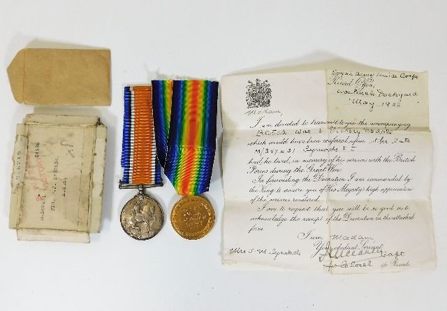 Lot 2 - A WW1 medal set posthumously awarded to M347431 Pt