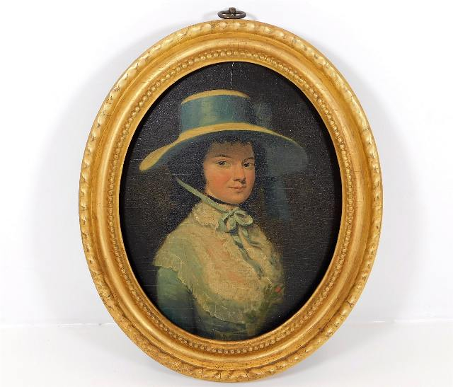 Lot 34 - In the style of George Stubbs, a gilt framed 18thC. oil on panel of Mrs. Langley, (Rebecca Langley,