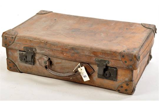 1de7bae53 A 19th Century brown leather suitcase, by J.C. Sweeney, Newcastle upon  Tyne, with reinforced leat