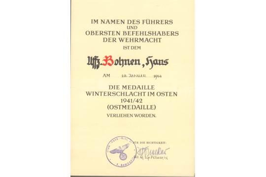 II. Weltkrieg URKUNDE zur OSTMEDAILLE 1941/1942waagerecht gefaltete ...