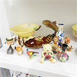 Beswick model of a trout, two Hummel figures, a West German fish pepperette,