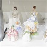 Various figures to include Royal Worcester 'Her Majesty the Queen Elizabeth II diamond wedding