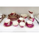 Victorian part tea service, purple ground,