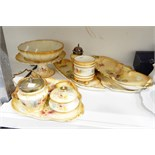 Royal Devon dressing table set, the yellow ground decorated with flowers, a silver-plated sifter,