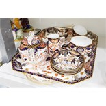 Royal Crown Derby cabinet set in the Imari colours, comprising of two-handled tray, teapot,