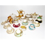 Quantity of cabinet cups and saucers to include a Santa Clara porcelain part service and various