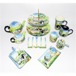 """Quantity of Old Tuptonware """"Farmyard"""" pattern china to include toast rack, butter dish, cake plates,"""
