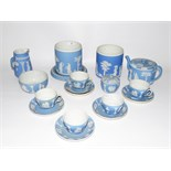 Quantity of 19th century Wedgwood pale blue jasperware to include teapot, teacups and saucers, jugs,