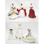 "Six Royal Doulton figures including ""Sharon"" HN3047, ""Daydreams"" HN1731, ""Innocence"" HN2842,"