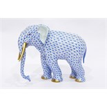 Herend model of an elephant, with blue decoration,