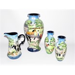 Pair of Old Tuptonware 'Farmyard' pattern vases, 22cm high, a vase of tapering form,