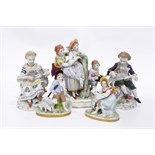 Sitzendorf figure group, 16cm high, a pair of Sitzendorf male and female figures with lambs,