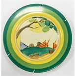Clarice Cliff 'Secrets' plate, circa 1932, handpainted with stylised coastal scene,