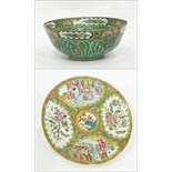 Chinese Canton porcelain bowl decorated with butterflies, 23cm diameter and a Canton dish,