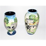 Old Tuptonware 'Farmyard' pattern tapering vase, 27cm high and another with flared base, 24.
