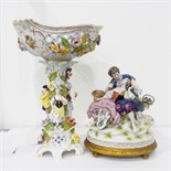 Continental figure group of courting couple on a gilt base,