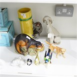 Various model animals to include a Lladro model of an Afghan hound, 29.