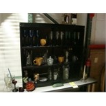 LOT OF SHELF & TABLE, w/contents