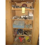 WOOD CABINET, w/assorted tooling