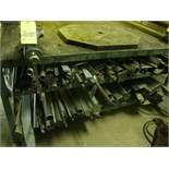 """STEEL WORKTABLE, 48"""" x 70"""", 5"""" vise & assorted steel"""