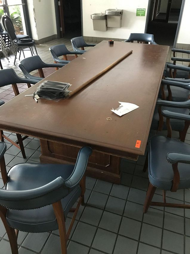 Lot 38 - CONFERENCE TABLE W/ 10 CHAIRS