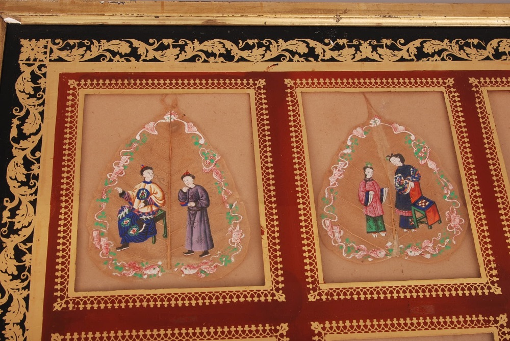 C19th Chinese mounted set of six Bodhi leaf paintings, each painted to depict court figures, all - Image 4 of 4