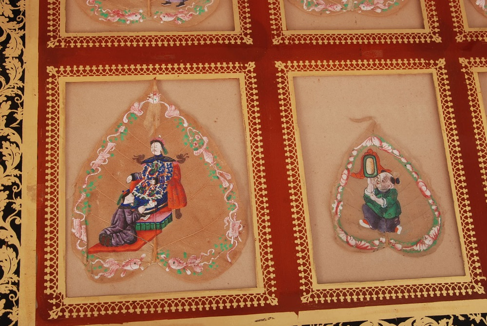 C19th Chinese mounted set of six Bodhi leaf paintings, each painted to depict court figures, all