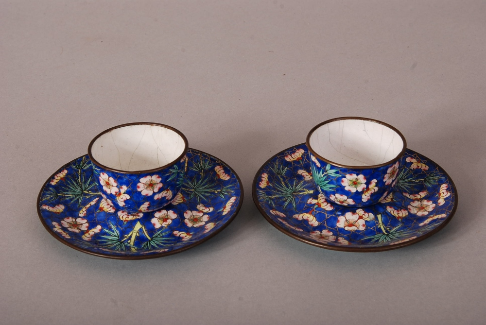 Lot 37 - Pair of C18th/19th Chinese painted enamel cups and saucers, painted with bamboo and prunus in a blue