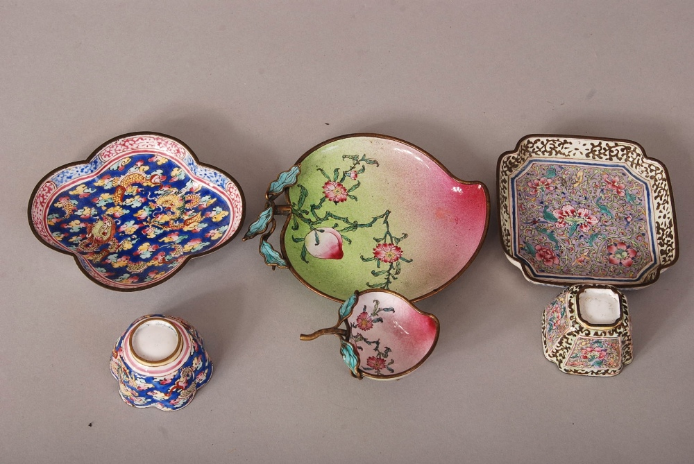 Lot 36 - Three sets of C18th Chinese painted enamel cups and saucers, the first of peach form and painted