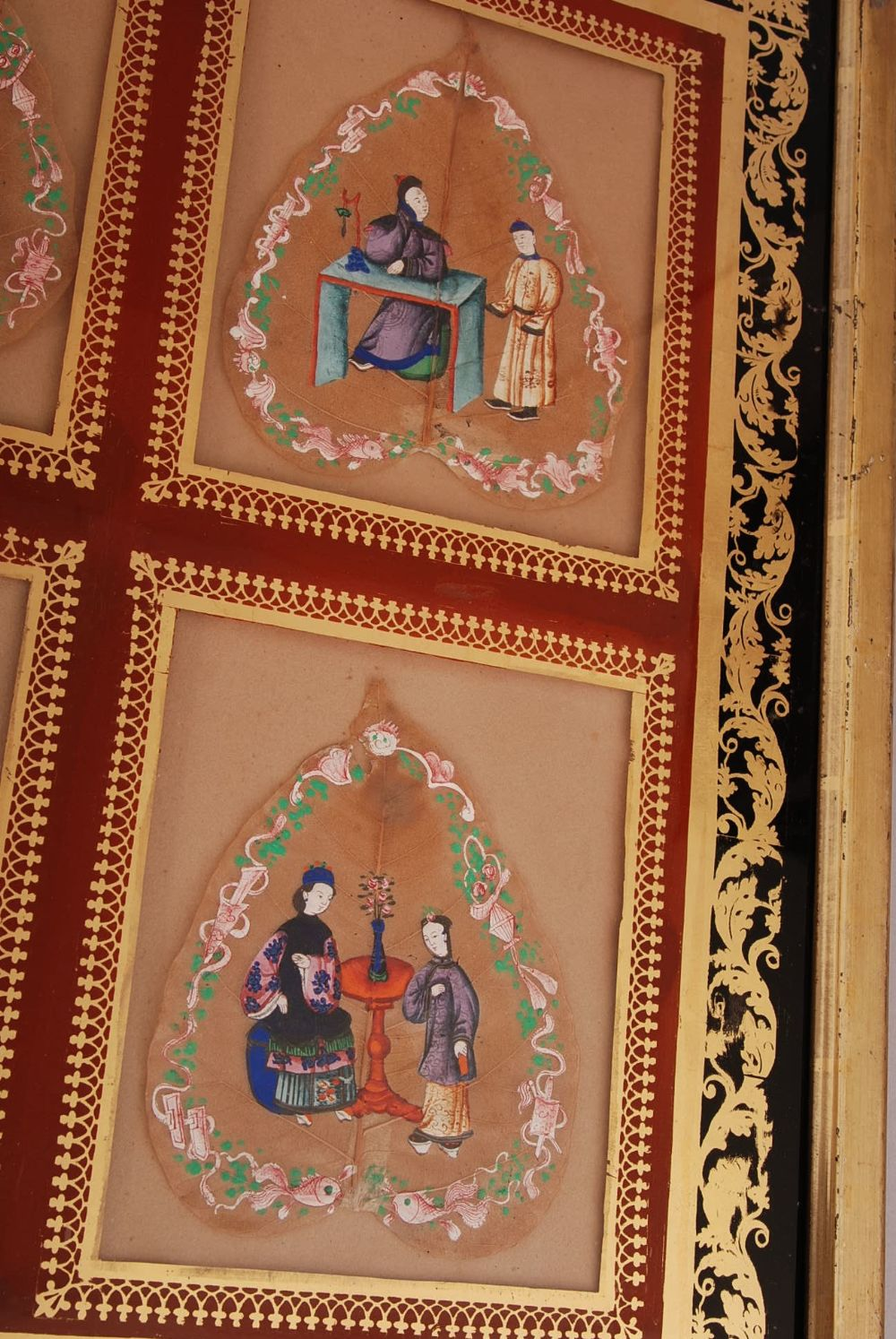 C19th Chinese mounted set of six Bodhi leaf paintings, each painted to depict court figures, all - Image 2 of 4