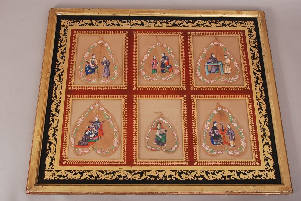 Lot 50 - C19th Chinese mounted set of six Bodhi leaf paintings, each painted to depict court figures, all