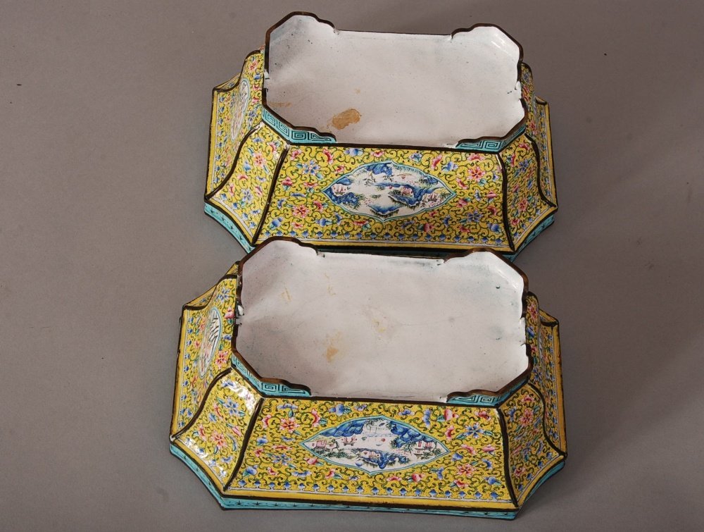 Lot 39 - Pair of C19th Chinese painted enamel rectangular jardineres, painted with panels of landscape,