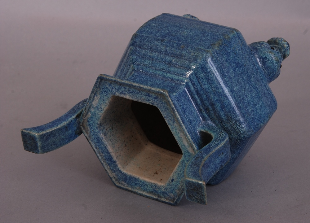Lot 1 - C19th Chinese Robin's egg glazed tripod censer, with twin upright handles, the hexagonal body