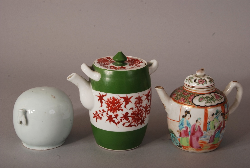 Lot 26 - C19th Chinese famille rose teapot and cover painted with figures, 14.5cm wide; together with an