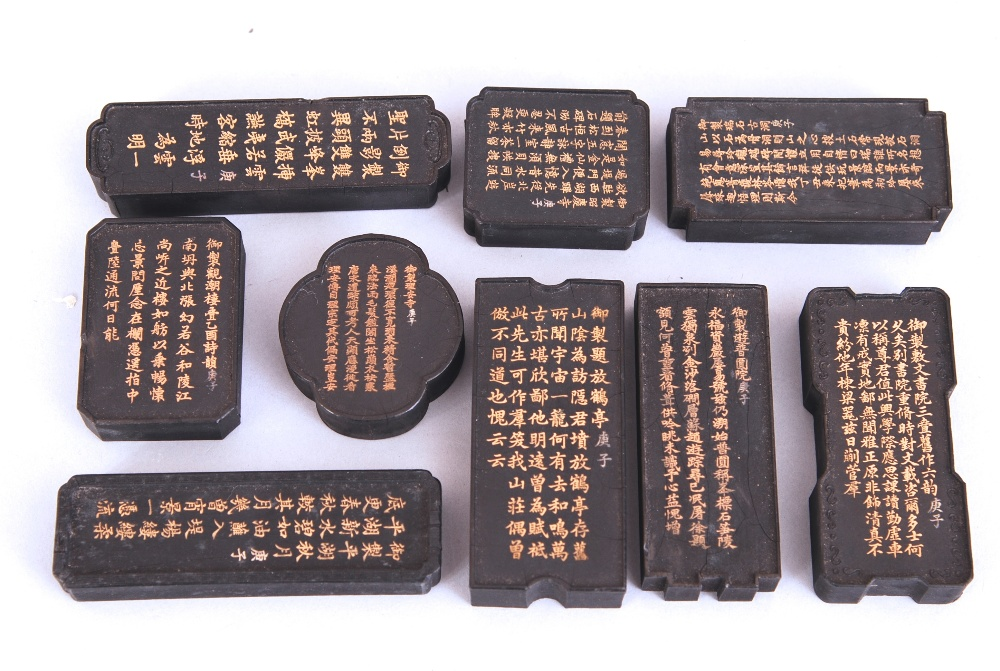 Lot 17 - Group of nine Chinese ink cakes, of various form, each decorated to one side with landscape, and a