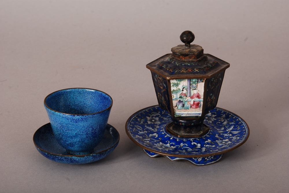 Lot 38 - C18th/19th Chinese painted enamel hexagonal vase, painted with panels of figural scenes, 8.3cm high;