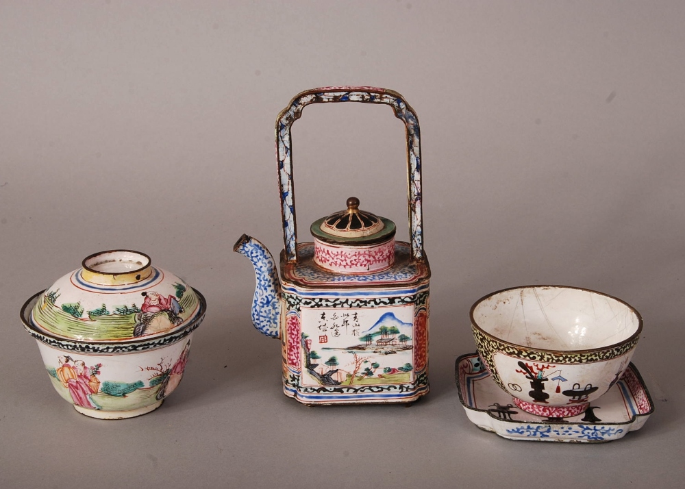 Lot 34 - C18th Chinese 'Canton enamel' teapot and cover, with an upright overhead handle and decorated with