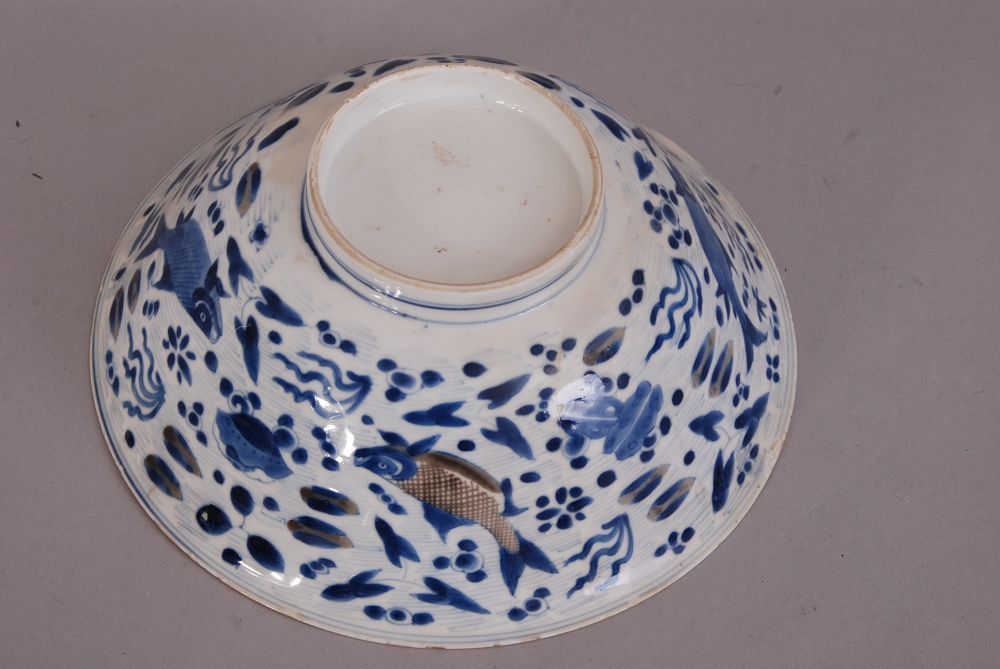 Lot 2 - Large Chinese blue and white plate painted with four fish swimming amongst reeds and aquatic plants,