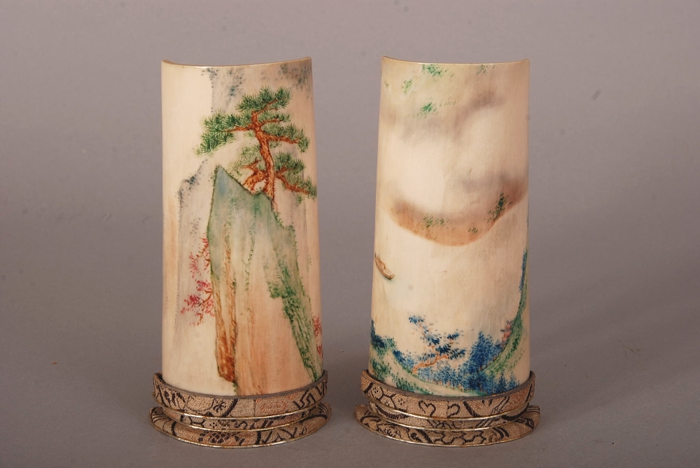 Lot 51 - Pair of C19th Chinese stained ivory wrist rests, carved to the underside in high relief with the